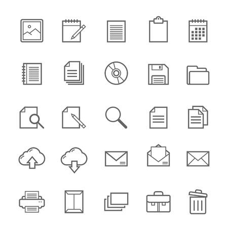 Set of Outline stroke Document icons Vector illustration 일러스트