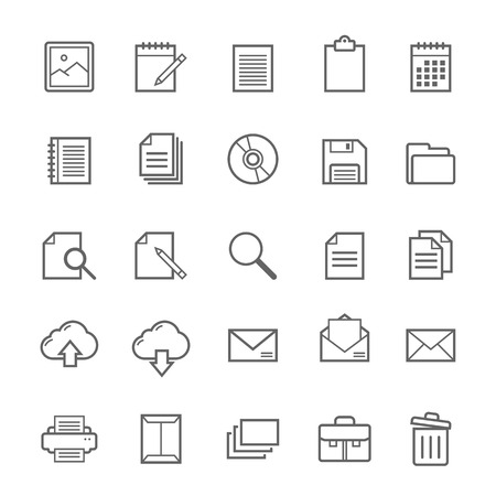 Set of Outline stroke Document icons Vector illustration Фото со стока - 37263578