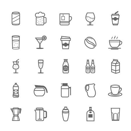 water jug: Set of Outline Stroke Beverage icon Vector illustration