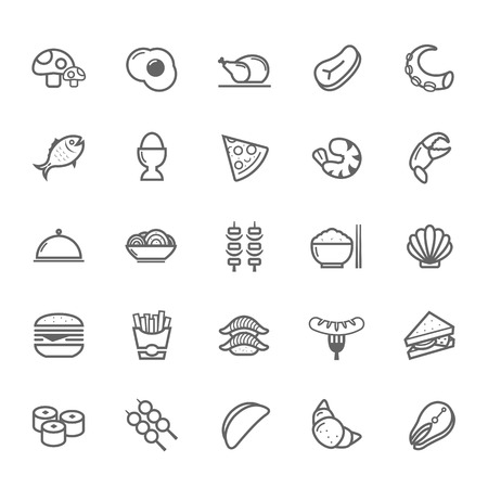 chinese meal: Set of Outline stroke Food icon Vector illustration