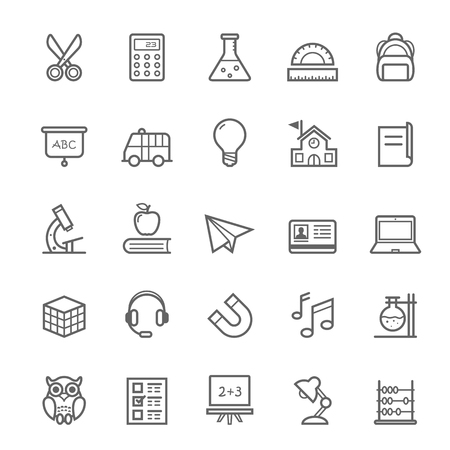 Set of Outline stroke Education icons Vector illustration