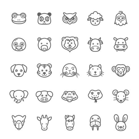 Set of Outline Stroke Animal Icons Vector Illustration