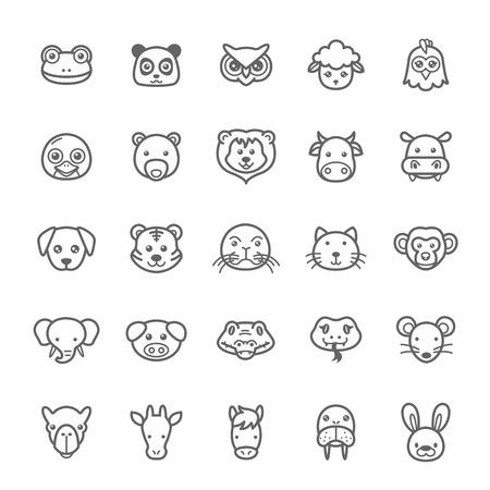 Set of Outline Stroke Animal Icons Vector Illustration Vector