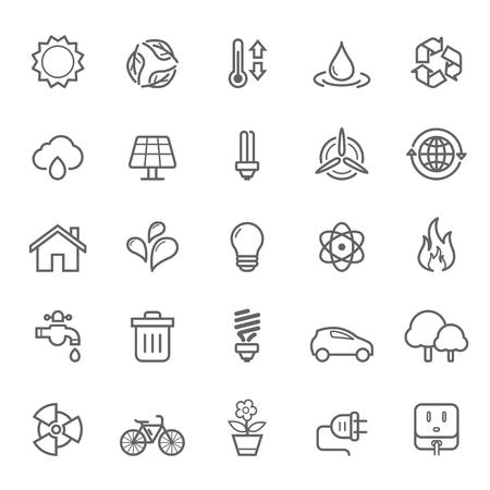 single line: Set of Outline Stroke Ecology Icons Vector Illustration Illustration