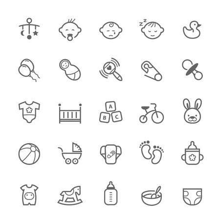Set of Outline stroke Baby icon Vector illustration