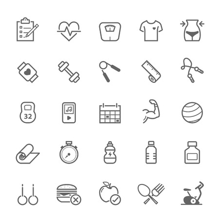 Set of Outline stroke Fitness icons Vector illustration  イラスト・ベクター素材