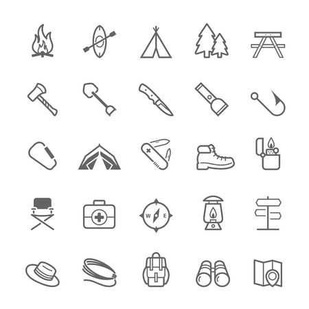 scouts: Set of Outline stroke Camping icons Vector illustration Illustration