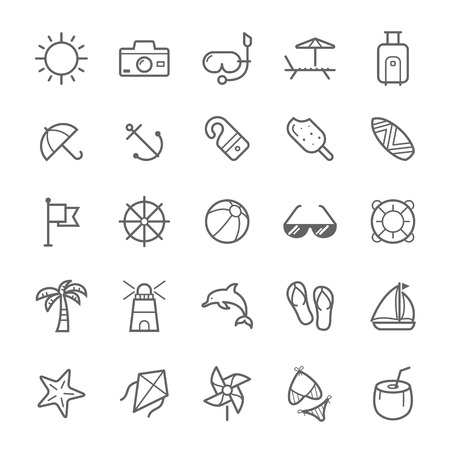 watermelon boat: Set of Outline stroke Beach icons Vector illustration