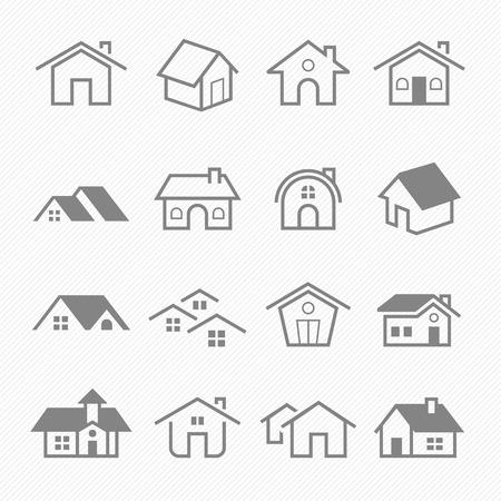 silhouette maison: Accueil contour stroke symbole vecteur icônes