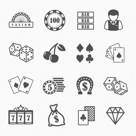 casino chips: Casino and gambling vector icons set