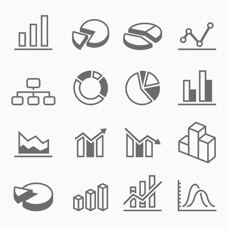Graph outline stroke symbol icons vector