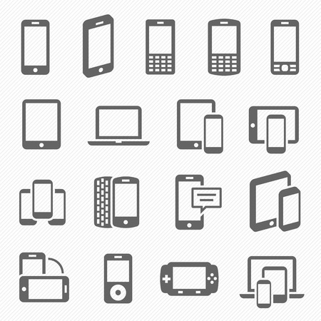 devices: Responsive design icons for web- computer screen, smartphone, tablet icons set