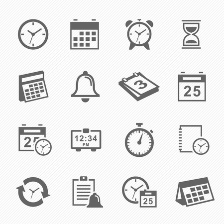 calendario: Iconos del s�mbolo de tiempo y horario de carrera ajustada. Ilustraci�n del vector. Vectores
