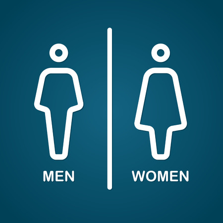 toilet symbol: Restroom male and female sign vector illustration
