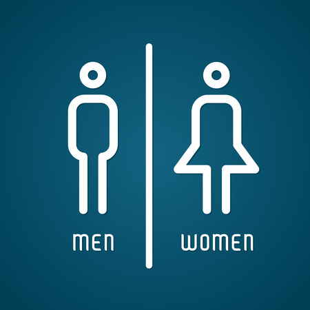 unisex: Restroom male and female sign vector illustration