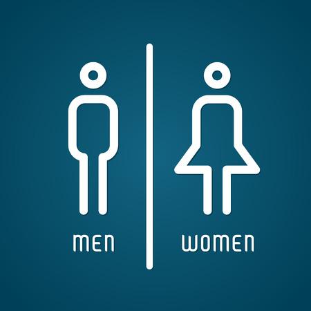 masculino: Varón y hembra los baños El signo ilustración vectorial