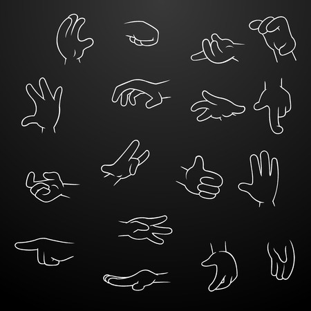 grip: Cartoon Hands collection - set of variety vector on black background