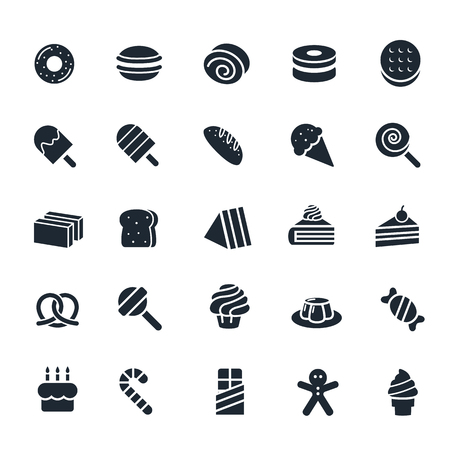 Dessert and Sweet icon on White Background Illustration