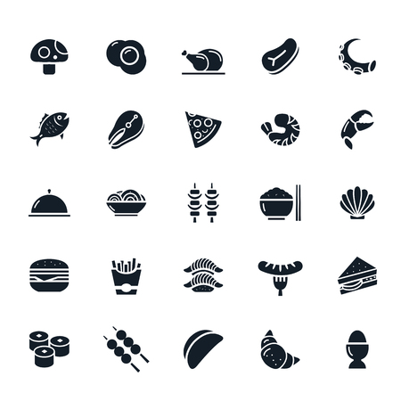 continental food: Food icon on White Background illustration