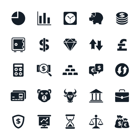 finance: Stock and Finance icons on White Background Vector illustration
