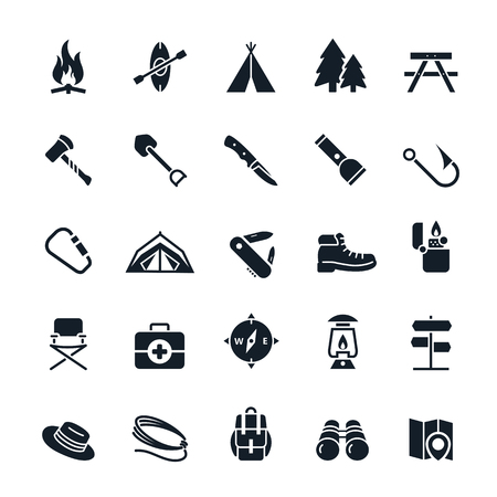 pocket knife: Camping icons illustration