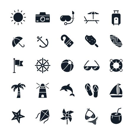 beach sea: Beach icons illustration Illustration