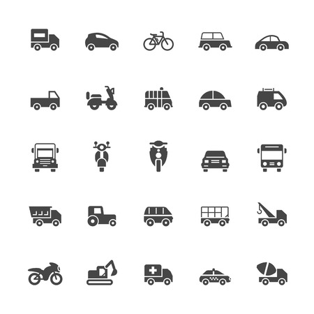vespa: Transport icons on White Background Vector Illustration Illustration