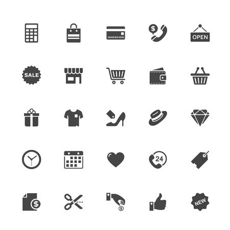 Shopping and Commerce Icon on White Background. Vector Illustration.