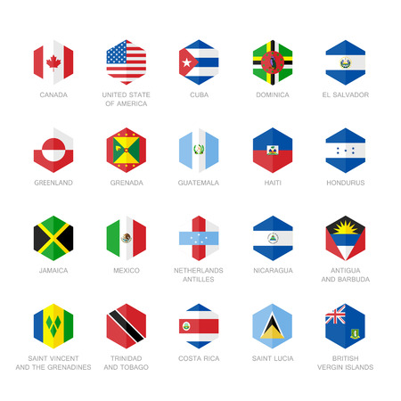 latin americans: North America and Caribbean Flag Icons. Hexagon Flat Design.