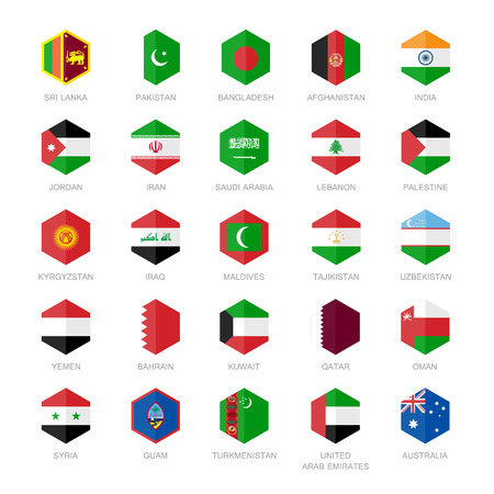 Asia middle east and south Asia Flag Icons. Hexagon Flat Design. Illustration