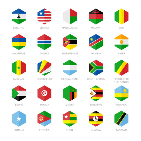 sudan: Africa Flag Icons. Hexagon Flat Design.