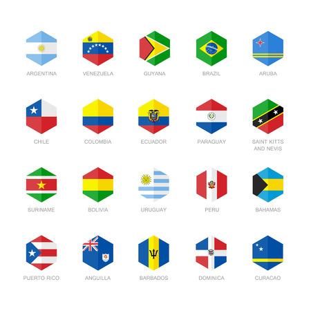 bandera de paraguay: América del Sur y el Caribe de la bandera Iconos. Hexágono Diseño plana.