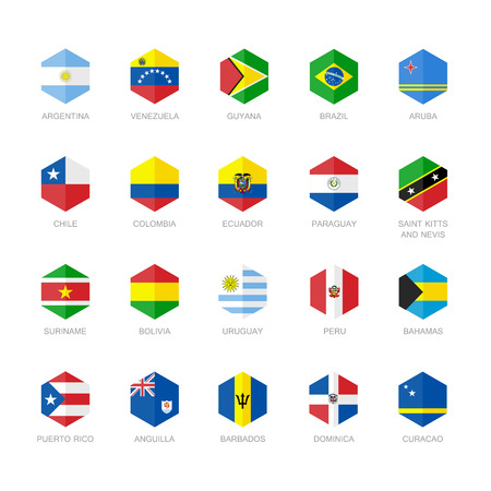 South America and Caribbean Flag Icons. Hexagon Flat Design.
