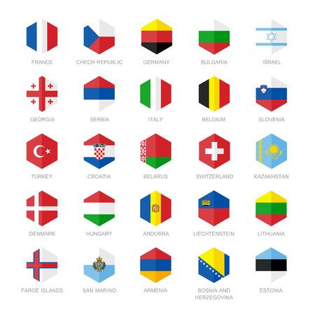 Europa iconos de la bandera. Hexágono Diseño plana.