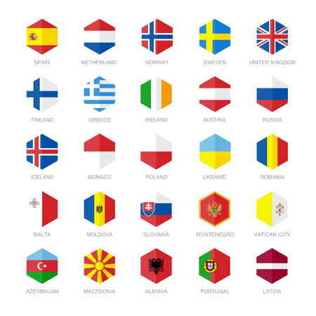 europe cities: Europe Flag Icons. Hexagon Flat Design.