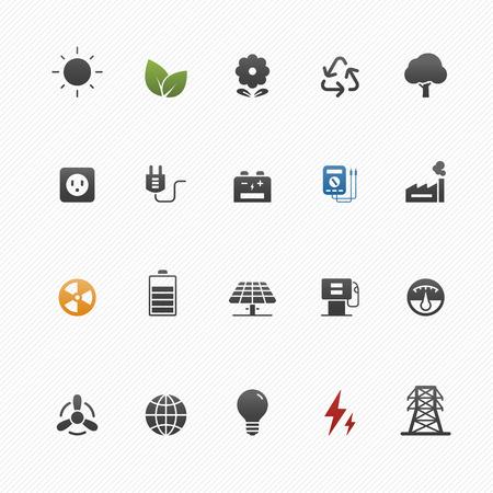 medio ambiente: medio ambiente y energía símbolo icono de conjunto de vectores