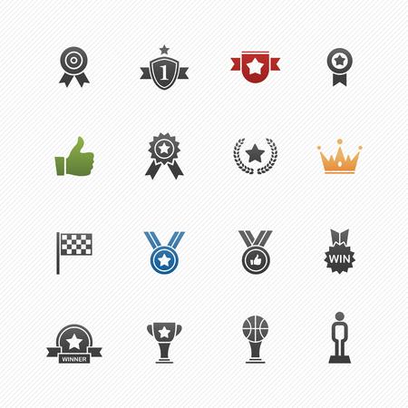 merit: Trophy and prize vector symbol icon set Illustration