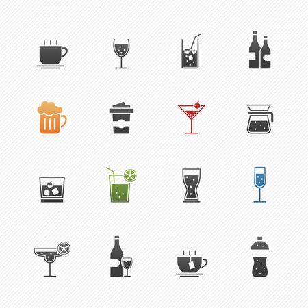botella de licor: Bebidas vector símbolo conjunto de iconos