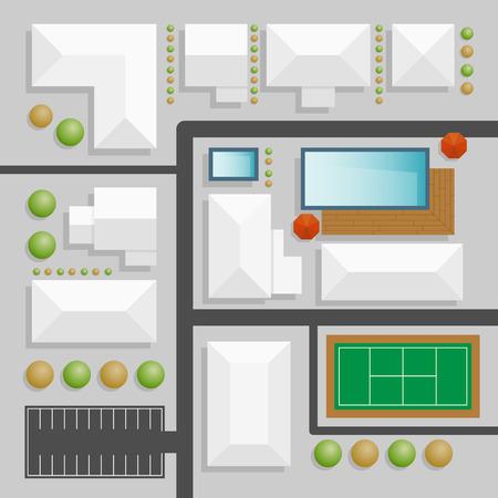 tree top view: conception du paysage vue de dessus avec piscine et court de tennis Illustration