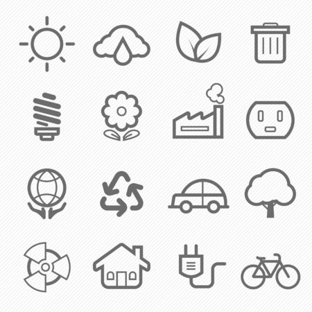 nuclear vector: ecology symbol line icon on white background vector illustration