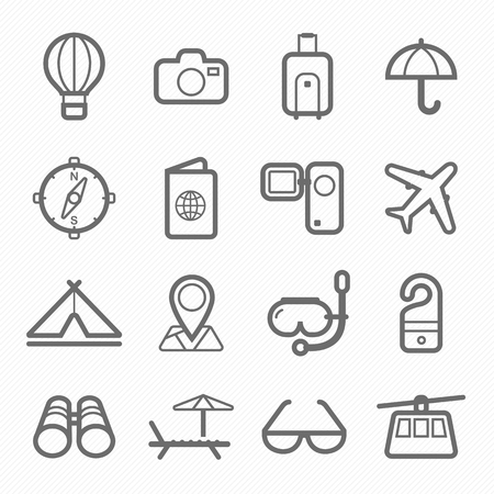 holiday symbol: travel and holiday symbol line icon on white background vector illustration