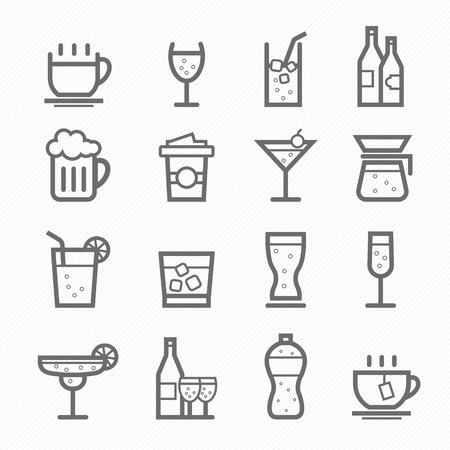 Beverage symbol line icon on white background vector illustration Ilustração