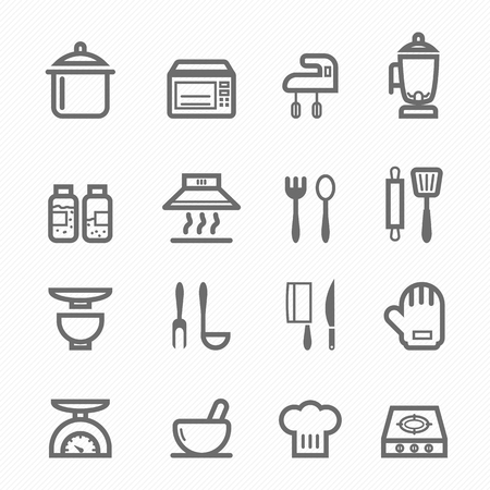 Kitchen symbol line icon on white background vector illustration