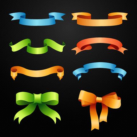 ribbons vector: Set of full colors ribbons vector illustration Illustration