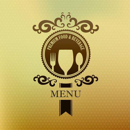 beverage menu: Vintage label menu food and beverage cover vector illustration