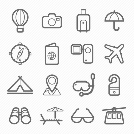 sky dive: travel and holiday symbol line icon on white background illustration