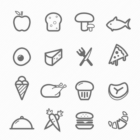 continental food: Food symbol line icon on white background illustration Illustration