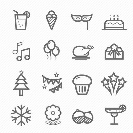 Party symbol line icon on white background illustration