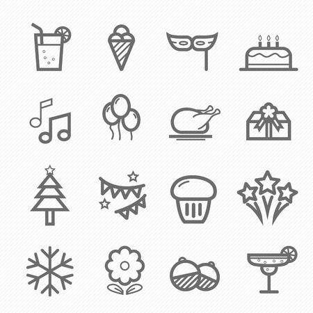 fire works: Party symbol line icon on white background illustration