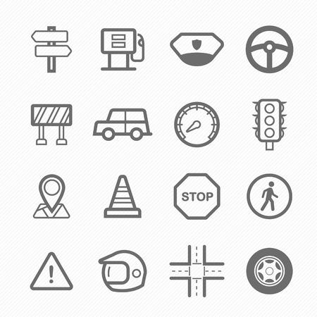 symbol traffic: traffic symbol line icon on white background  illustration Illustration